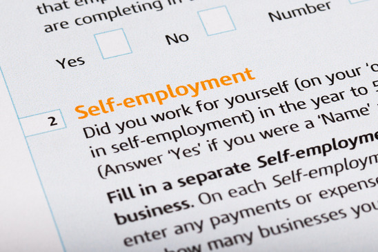 Self employed word on a tax form